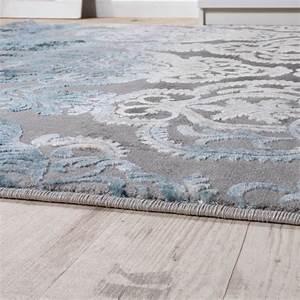 Teppich Grau Blau : designer teppich moderne ornamente muster wohnzimmerteppich grau blau wohn und schlafbereich ~ Indierocktalk.com Haus und Dekorationen