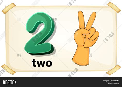 Illustration Flashcard Number Two Vector & Photo