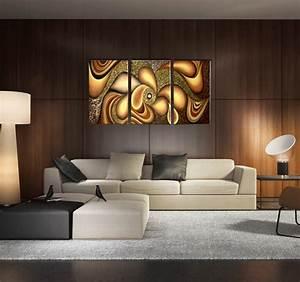 Tableau Salon Design : hippies gold flowers triptyque contemporain ~ Teatrodelosmanantiales.com Idées de Décoration