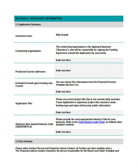 Grant Template Grant Application Template Template Business