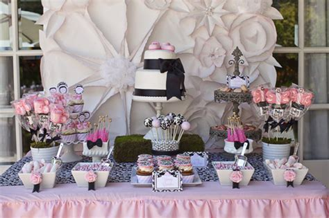 pink and black damask baby shower