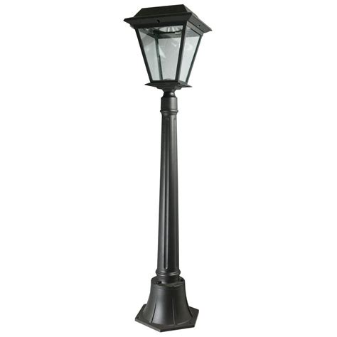 solar led outdoor l post xepa stay on whole night 300 lumen 42 in outdoor black