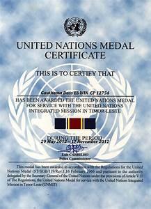 United nations Medal Certificate | UNMIT - Timor Leste ...