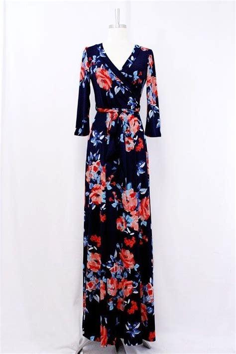 maxi dress navy floral print wrap dress tie waist 3