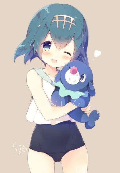 adorable blue hair girl   water seal pokemon sun