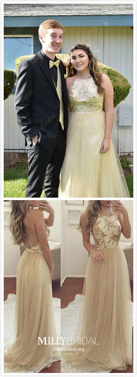 $139.99 A-line Scoop Neck Tulle Sweep Train Sequins Prom ...