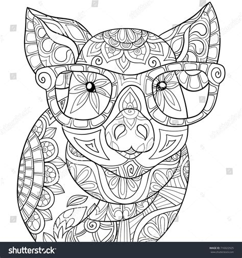 pig adult coloring book adult coloring pagebook pig style art stock vector