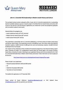 John A S Grenville PhD Studentship in Modern Jewish History and Culture, Leo Baeck Insute