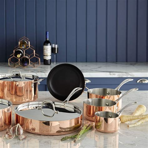 aldis copper pans  give  kitchen  wow factor ideal home