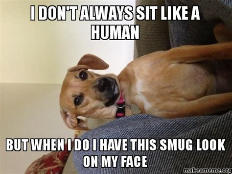 Sit On My Face Meme - i don t always sit like a human but when i do i have this smug look on my face make a meme