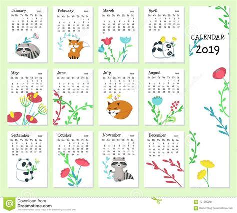 calendar vector template cute animals stock vector