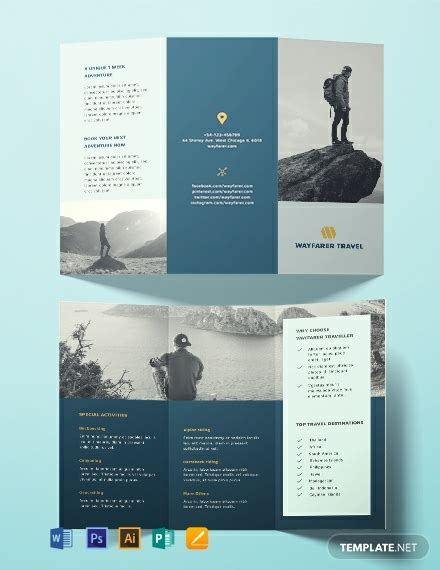 travel brochure template word  psd