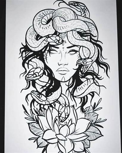 Tattoo Medusa Outline Tattoos Drawings Drawing Chicano