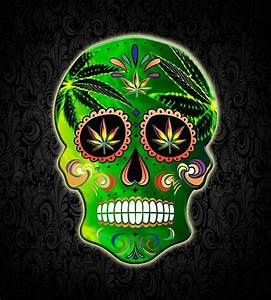 """Cool Day of the Dead Weed Sugar Skull "" by TsaoDesign"