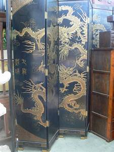 CF 103 Antique Huge Chinese Lacquer Dragon Room Divider