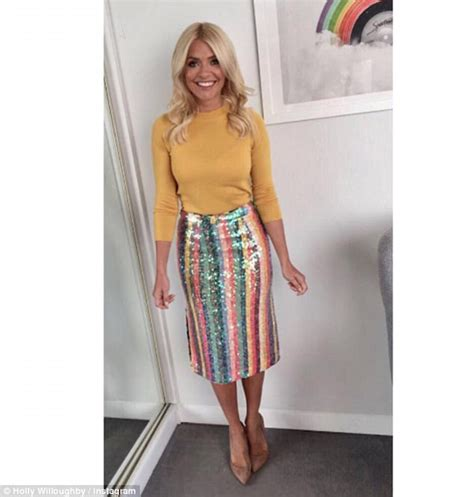 Bronzed Holly Willoughby wears sequinned rainbow skirt ...