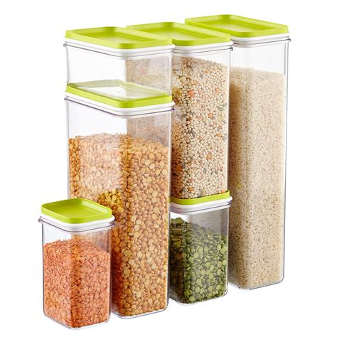 Set Of Narrow Stackable Canisters With Lime Lids The