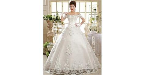 Ball Gown Floor-length Wedding Dress -off-the-shoulder