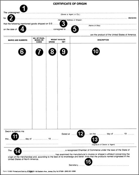 certificate of origin template usa certificates of origin woodbury area chamber of commerce