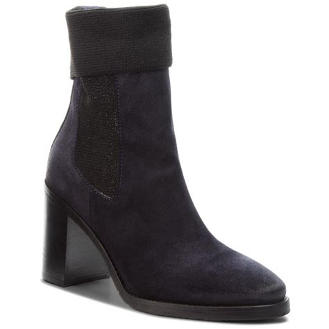 boots tommy hilfiger knitted sock heeled fwfw midnight  boots high boots