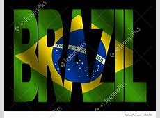 Illustration Of Brazil Text With Brazilian Flag