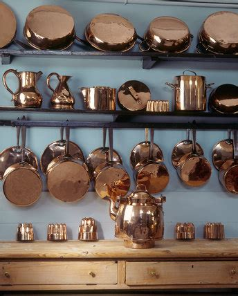 copper pots  pans   shelves   kitchen  felbrigg hall felbrigg  national trust