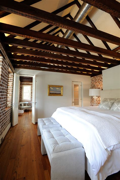 impressive bedroom designs  exposed wood beams