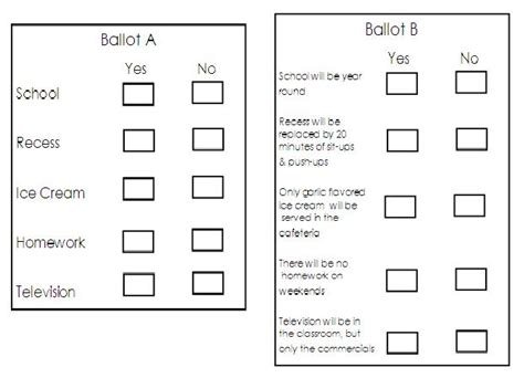 ballot template word adventures in third grade election time