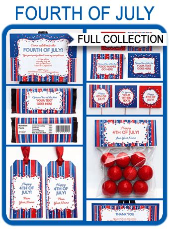 fourth  july party printables invitations decorations