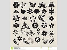 Floral Symbols Icon Set Vector Flower Set Stock Vector