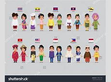 Asean Boys Girls Traditional Costume Flag Stock Vector