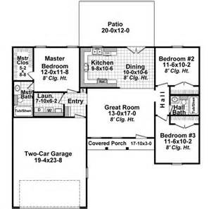 2 bedroom ranch house plans ranch style house plans 1200 square foot home 1 story