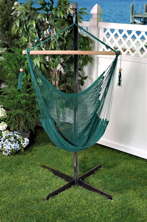 bliss tahiti cotton rope hammock chair green