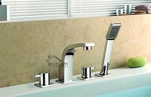 4 Loch Armatur : set badewannenarmatur handbrause badewanne armatur chrom wannenrand 4 loch da ebay ~ Frokenaadalensverden.com Haus und Dekorationen