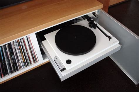 diy record player cabinet hidden turntable record player using an ikea pull out