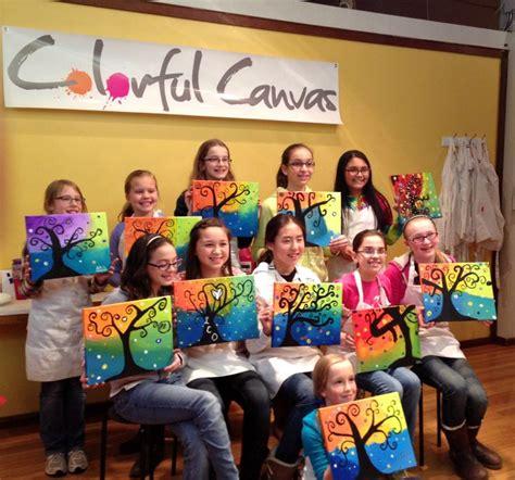 year  girls enjoyed  swirly tree painting