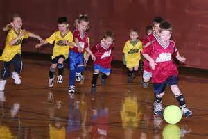 Little Kids Playing Indoor Soccer