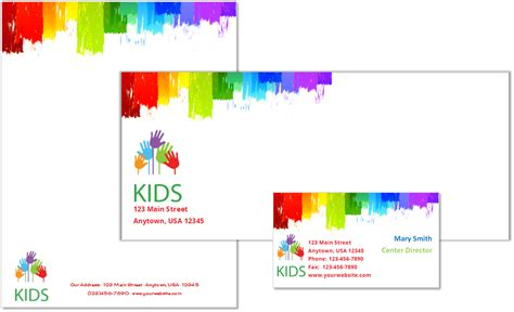card template preschool child care stationery set template 9 child care owner