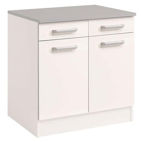 meuble blanc cuisine meuble bas de cuisine contemporain 80 cm 2 portes 2
