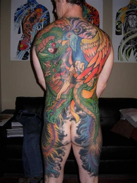 japanese peacock  dragon tattoo  burning monk tattoo