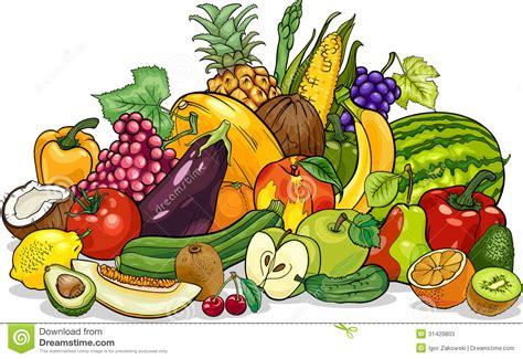 fruits  vegetables group cartoon illustration stock  image