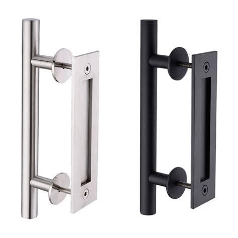 stainless steel sliding barn door pull handle wood
