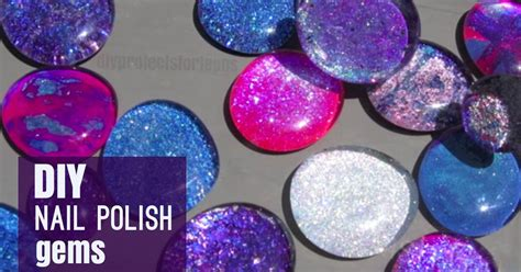 diy crackled nail polish gems