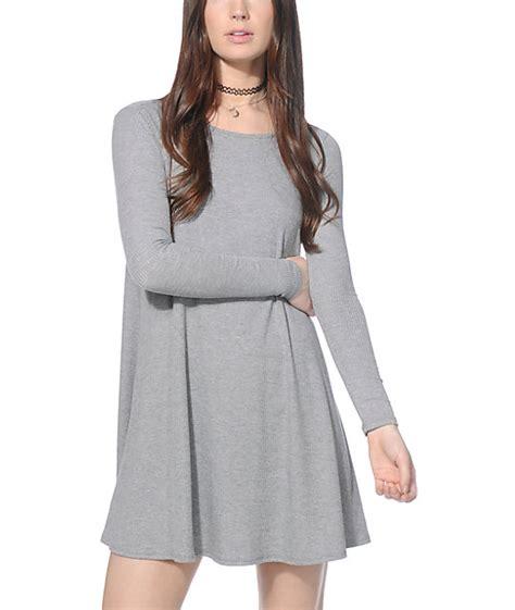 Love Fire Hal Heather Grey Long Sleeve T-Shirt Dress | Zumiez