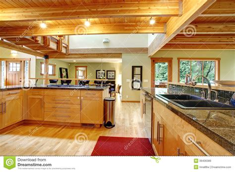 cabin style kitchen cabinets log cabin style kitchen interior stock image image