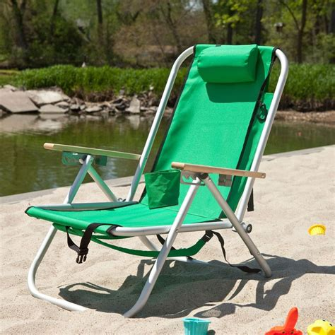green hi back reclining sling seat chair with