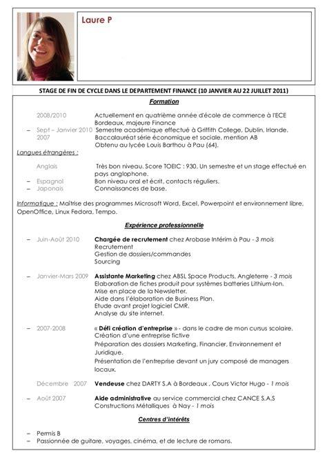 Cv En Franàçais Modèle by Exemple De Cv En Anglais Controleur De Gestion Sle Resume