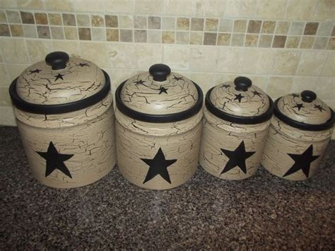 primitive kitchen canisters primitive crackle painted set of 4 canisters black