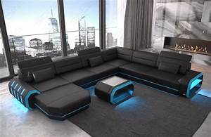 Couch Led : xxl wohnlandschaft roma in leder mit einer sch nen beleuchtung ~ Pilothousefishingboats.com Haus und Dekorationen