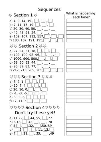 sequences ks maths fill   gaps worksheet